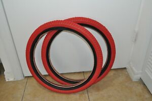 """20"""" BMX Tires Set (20x2.30) Front and Rear BMX Tire Child bike Tire Red."""