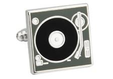 Turntable Record Player DJ Cufflinks Wedding Groom Father Gift Box Free Ship