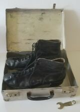 Vintage Mens 12 Black Leather Betty Lytle Hyde Chicago Roller Skates Wood Wheels