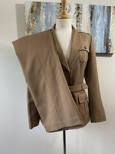 EMILY Women 2PC Elegant Brown  With Detachable Belt Pant Suit  Size 8