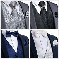 DiBanGu Mens Paisley Floral Waistcoat Vest Necktie Bowtie Hanky Cufflinks Set