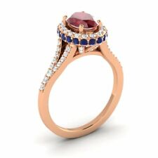 18k Rose Gold 2.06CTW RUBY, SAPPHIRE DIAMOND HALO SOLITAIRE ENGAGEMENT RING