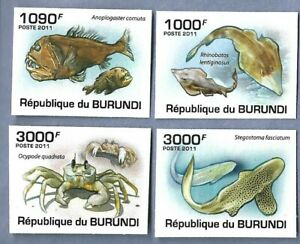 BURUNDI 892-95 MNH FISH AND MARINE LIFE IMPERF SCV 15.00