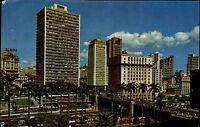 São Paulo Brasil AK Briefmarken 1963 Vale do Anhangabaú Teilansicht Hochhäuser
