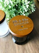 Mini Personalised Engraved Wooden Lid Wedding Favours Soy Candles in a Tumbler