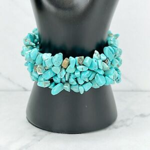 Faux Turquoise Stone Rock Chunky Stretch Bracelet