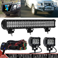 DUAL ROW 25INCH LED LIGHT BAR SPOT FLOOD+PODS KIT For OFFROAD 4X4WD TRUCK 22""