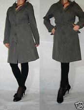 Women Khaki Denim  Hooded Coat Trench Zipped String Republic Size 14