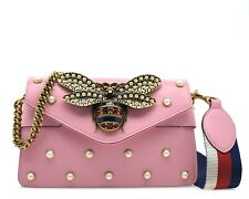 Gucci Broadway Bee Crossbody Pearl Studded Pink Leather New