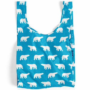 NEW BAGGU Standard Reusable Bag **JAPAN EXCLUSIVE** WHITE POLAR BEAR Bears Aqua
