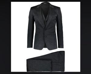 DOLCE & GABBANA MEN'S Black Patterned 3 Piece Suit 36R UK / 46R IT / SMALL / S
