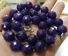Natural 10mm Faceted Round shape Amethyst gemstone beads necklace 18''