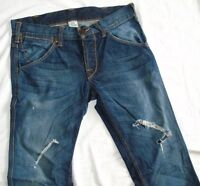 TRUE RELIGION -USA DESIGNER STONEWASHED/RIPPED/FRAYED BOOT-CUT JEANS W33 34L