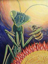 "Original signed Painting Praying Mantis Bug/Insect Portrait~""Sunset Bar-Bee-Q"""