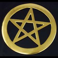 "NEW Brass Pentacle Altar Tile 4.5"" Openwork Metal Wicca Pagan Pentagram Symbol"