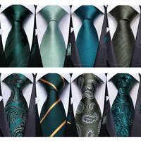 Paisley Floral Striped Green Teal Mens Silk Tie Set Necktie Hanky Cufflinks Gift
