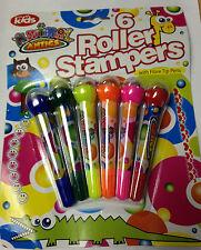 Confezione da 6 A RULLI Stampers KIDS bambino creativo divertente Art Craft con punta in fibra penne