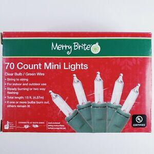 Merry Brite 70 Mini Lights Christmas Tree Clear Bulb Green Wire Patio Weddings