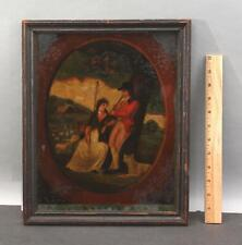 19thC Antique Reverse Painted Glass Transfer Painting Romantic Serenade w/ Sheep