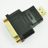 Black Dual L DVI-I Female to HDMI Male Plug Converter Adapter S2Q5