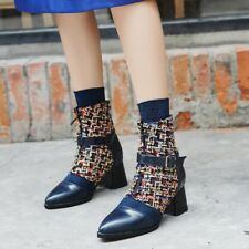 Women Block Mid Heels Pointed Toe Plaid Zip Punk Ankle Boots Chunky Fashion Shoe