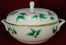 MIKASA china RIBBON HOLLY CAF03 pattern ROUND Covered VEGETABLE Serving BOWL