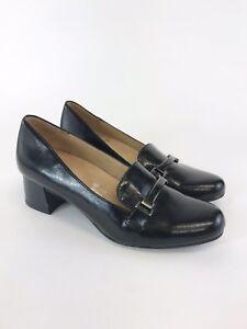 NATURALIZER Black Patent Fuax Leather Slip On Loafers Block Heels Shoe Sz UK6.5D