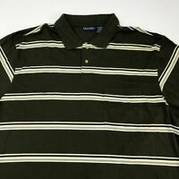 Puritan Polo Shirt Men's Size 2XLT Short Sleeve Green Tan White Striped
