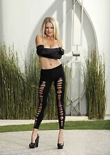 Black Opaque Shredded Front Sexy Spandex Leggings One Size HOT by Shirley 90244