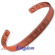 Accents Kingdom Men's Magnetic Copper Golf Cuff Bangle Golf Bracelet WWJD