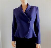 ARMANI COLLEZIONI Indigo Wool Fitted Jacket Blazer sz 42 6 Made in Italy