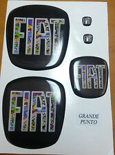KIT STEMMI FIAT 500/PUNTO/PANDA  ANT+POST+VOLANTE ADESIVO 3D RESINATO TUNING