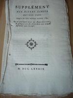 SUPPLEMENT AUX DIVERS ECRITS FEVRIER 1789 TENUE ETATS GENERAUX