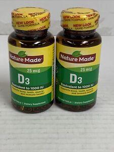 2 Nature Made Vitamin D3 400 IU (10 mcg), 100 Count EXP 05/2022 New
