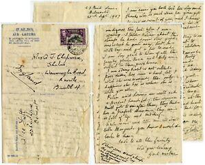 TRINIDAD + TOBAGO 1947 AIRLETTER + MESSAGE 12c KG6 SINGLE FRANKING ALICE FUTT