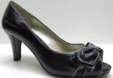 Liz Claiborne Black Leather Platform Open Toe Bow Dress Pumps 8B 8 NEW $79.