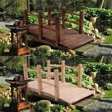 More details for wooden garden bridge lawn décor stained finish arc outdoor pond walkway 150cm uk