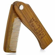 Folding Wooden Comb - 100% Solid Beech Wood - Fine Tooth Pocket Sized Beard