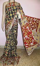 Pochampally and kalamkari Printed Silk saree(Black)