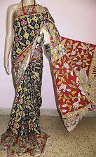 Pochampally and kalamkari Printed Silk saree(Black)