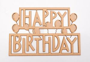 Wooden MDF Plaque - 'Happy Birthday' in frame with balloons - blank shape