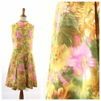 true vintage 1960s 60s cotton floral pink orange dress costume wear small