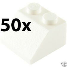 WHITE Lot of 50x Genuine LEGO 45° 2x2 Slopes Roofing Bricks 50 Pieces - USED