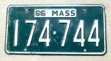 American number licence license plate Massachusetts vintage embossed USA 1966