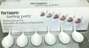 New PIER 1 IMPORTS Tasting Party 6 Ceramic Spoon Set w Glass Tray