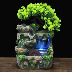 Indoor Mini Waterfall Fountain Feng Shui Resin Rockery with LED Light Home Décor