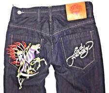 Ed Hardy Christian Audigier Men's Button Fly Dark Jeans Skull Flames 34 X 32