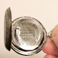 1885 Longines Gentleman's Silver Pocket Watch, 1878 Paris Anniversary, Running!