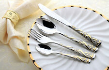 4 Piece Gold Stainless Steel Cutlery Set Knife Fork Spoon Teaspoon Royal Family