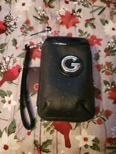 GUESS BLACK Faux Leather Zippered Cell Phone Case-Credit Card Slot-Inside pocket